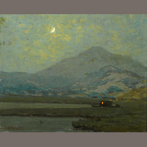 Granville Redmond (American, 1871-1935) Mount Tamalpais in moonlight with a moored vessel in the marshes below 16 1/4 x 20 1/4in