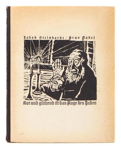 JUDAICA. NADEL, ARNO. STEINHARDT, JAKOB, illustrator. Rot und Gluhend ist das Auge des Juden. Berlin : Verlag für Jüdische Kunst und Kultur, F. Gurlitt, 1920.
