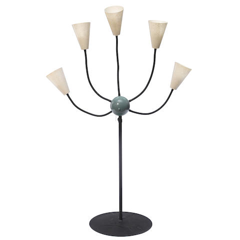 A Mid-Century-Modern five-light fiberglass and metal floor lamp