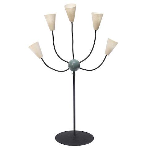 A Mid-Century-Modern five-light fiberglass and metal floor lamp