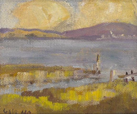 Selden Connor Gile (American, 1877-1947) Lagoon and purple hill, 1940 5 x 5 3/4in