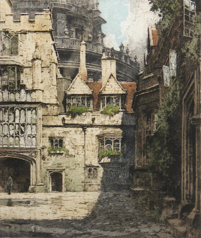 Luigi Kasimir (Austrian, 1881-1962); Brasenose College, Oxford; Middle Tower, London; (2)