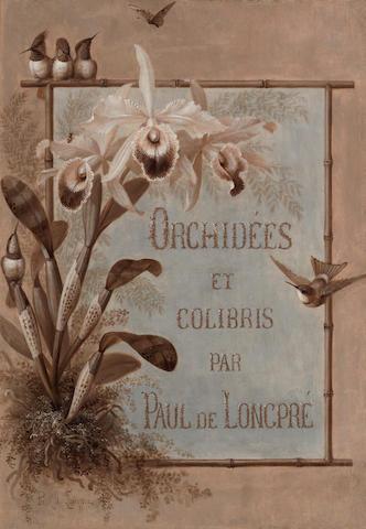 Paul de Longpre (American, 1855-1911) Orchidees et Colibris par Paul de Longpre  19 1/4 x 13 3/4in overall: 27 1/2 x 21 3/4in