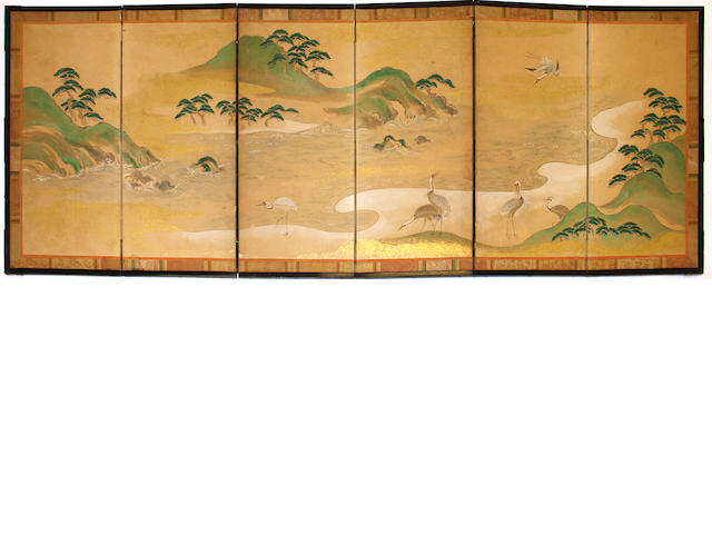 A Japanese small six-panel landscape screen  19th century