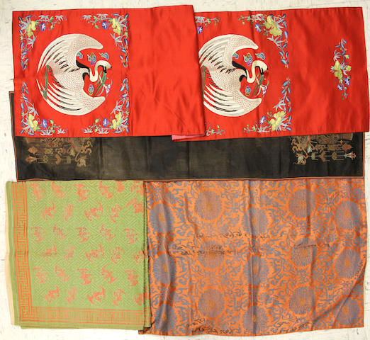 A group of five Chinese brocade panels