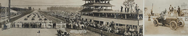 A panaramic photograph of the line-up at the 1919 Indianapolis 500,