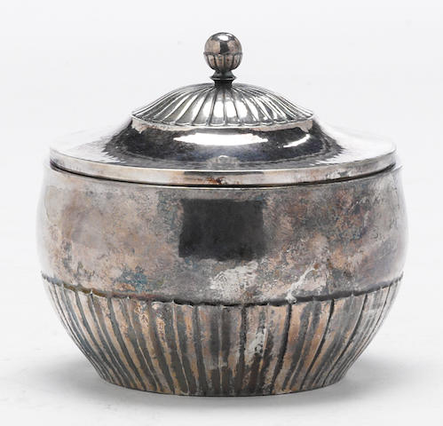 A Danish sterling sugar bowl with cover by Georg Jensen, Copenhagen, designed by Johan Rohde, post 1945  Cosmos, # 45C