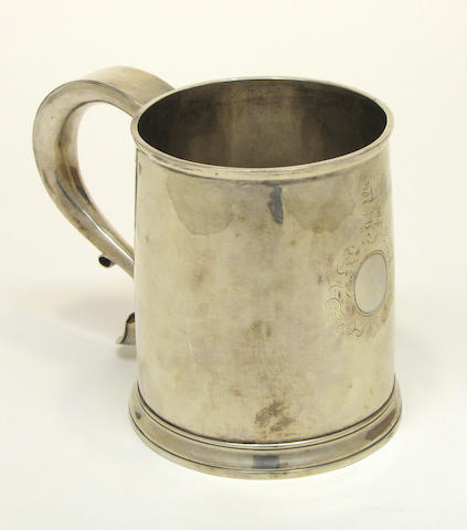 A Queen Anne silver large mug Maker's mark rubbed, London, 1711