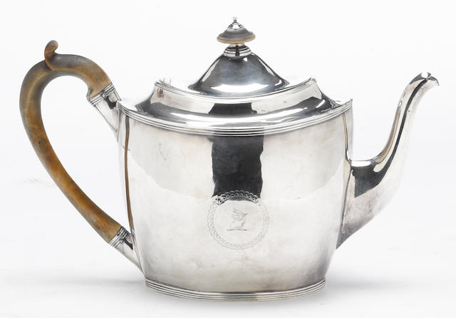 A George III silver teapot with wooden fittings Peter, Ann & William Bateman, London, 1803  With crest