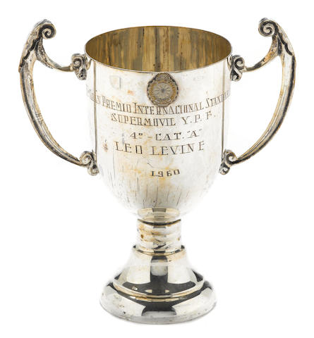 An IVGran Premio Internacional Standard trophy awarded to Leo Levine 1960,
