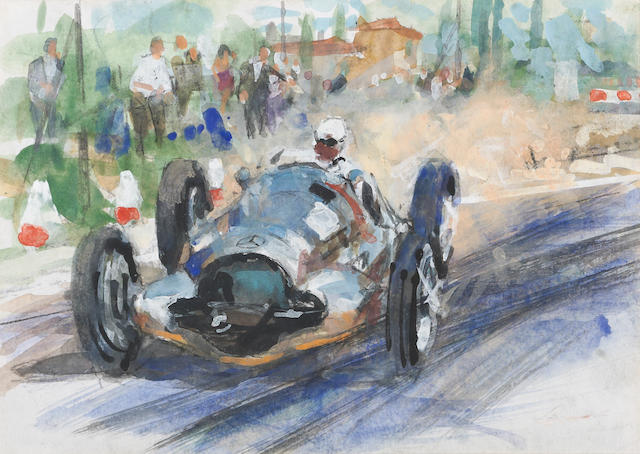 An original Walter Gotschke: Mercedes 154  Grand Prix race car painting with personalised  letter to Leo Levine,