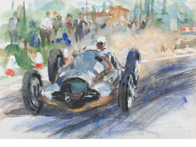An original Walter Gotschke: Mercedes 196 Grand Prix race car painting with personalized letter to Leo Levine,