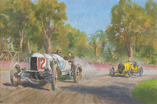 "An original Peter Helck depicting DePalma's ""Gray Ghost"" defeating Oldfied in the Vanderbilt Cup, Santa Monica 1914,"