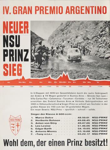 An IV Gran Premio Argentino NSU-PRINZ poster, 1959,