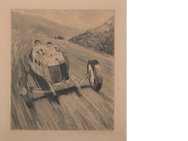 An etching of a Mercedes race car