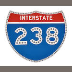 A large Interstate 238 sign,