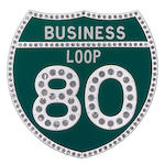 A Highway business loop 80 sign,