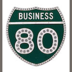 A highway business 80 sign,