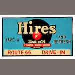A Hires Root Beer route 66 drive-in sign,