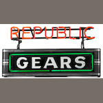 A 'Republic Gears' neon sign, c. 20s,
