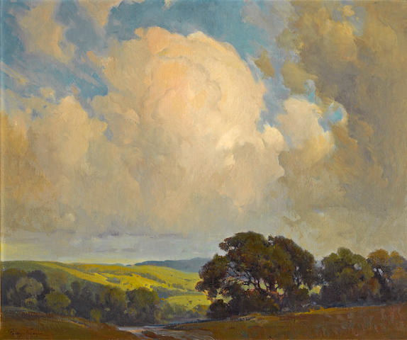 Percy Gray (1869-1952) Oaks and rolling hills under billowing clouds 25 x 30in