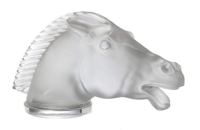 A fine and rare 'Epsom'  glass mascot by René Lalique, French, 1929,