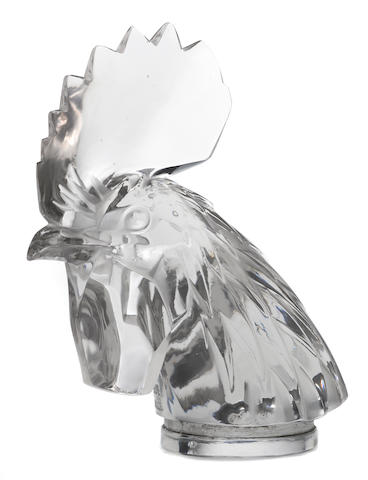 A 'Tete de Coq' glass mascot by René Lalique, French, 1928,
