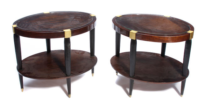 A pair of Art Deco style two tier occasional tables