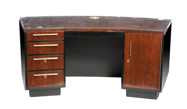 An Art Deco rosewood kneehole desk