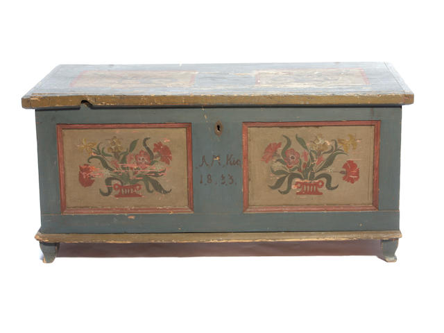 A Tyrolean paint decorated pine blanket chest