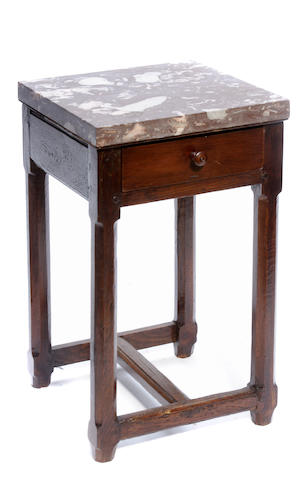 A Louis XIV style oak square table with marble top
