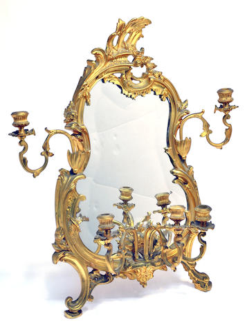 A Louis XV style gilt bronze five light easel mirror late 20th century