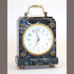A miniature silvered engine turned cased carriage clock early 20th century