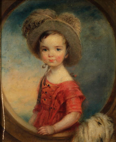 Follower of Sir Thomas Lawrence, PRA (British, 1769-1830) A portrait of a child in a red frock and plumed hat 9 1/2 x 7 3/4in