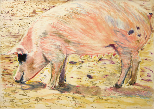 Bill Sullivan (American, 1942-2010) Pink pig, 1970 30 1/2 x 42 1/2in