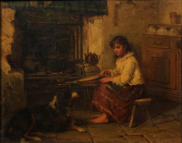 James Cole (British) A girl and a dog in a cottage 20 x 24in