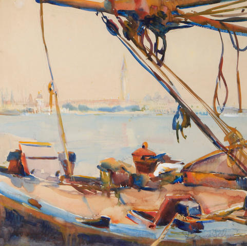 Donna Schuster (1883-1953), A view of Venice, signed, watercolor on paper, 14 x 14 inches, framed