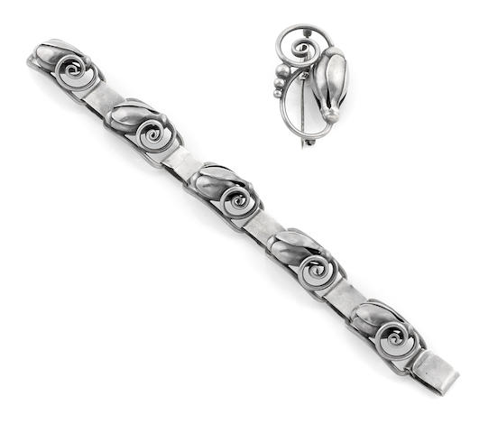 A Georg Jensen sterling silver blossom bracelet and pin