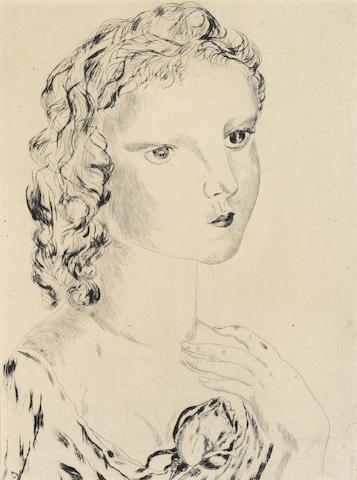 Tsuguharu Foujita (1886-1968); Jeune Fille avec un Rose;