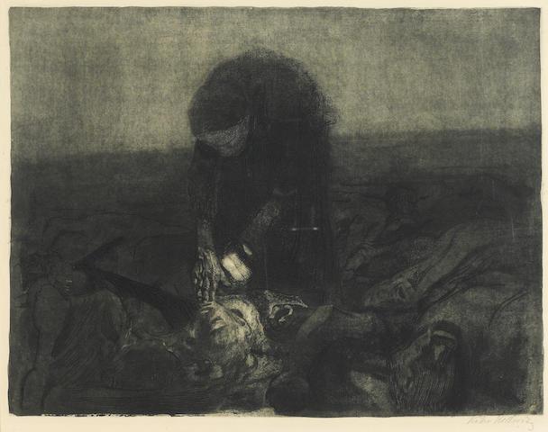 Kathe Kollwitz, Schlachtfeld, (K.96), 1907, etching and aquatint, signed