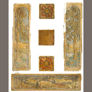 Group of Claycraft glazed pottery tiles comprising three scenic tiles, two floral square tiles and twelve square rounded tiles, one scenic tile heavily chipped, small chips to others (eleven tiles being delivered later)