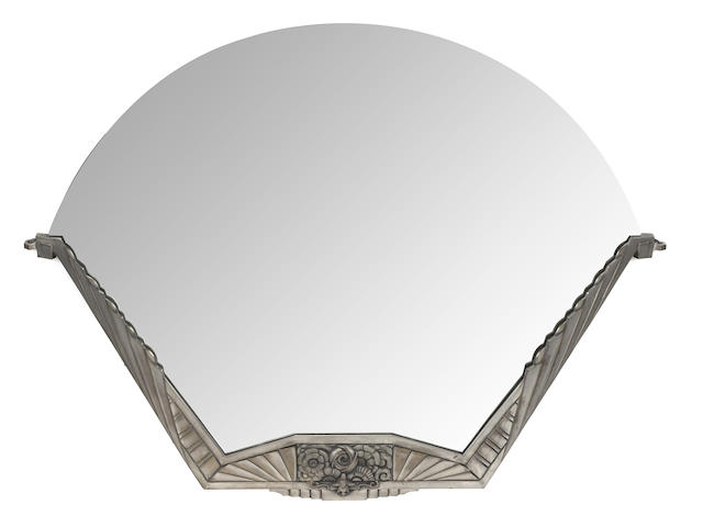An Art Deco silvered metal mirror