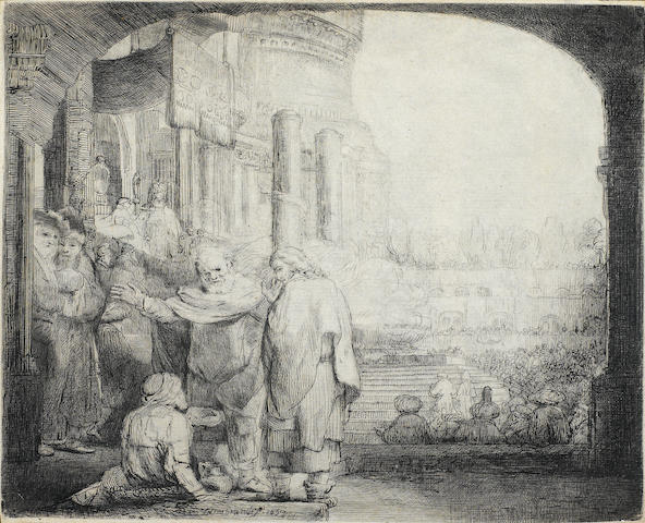 Rembrandt Harmensz van Rijn (1606-1669); Peter and John healing the Cripple at the Gate of the Temple;