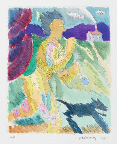 C. Almaraz, Man with boa, hand-colored etching, AP (aside from the ed. of 10), Ephram Wolfe printer