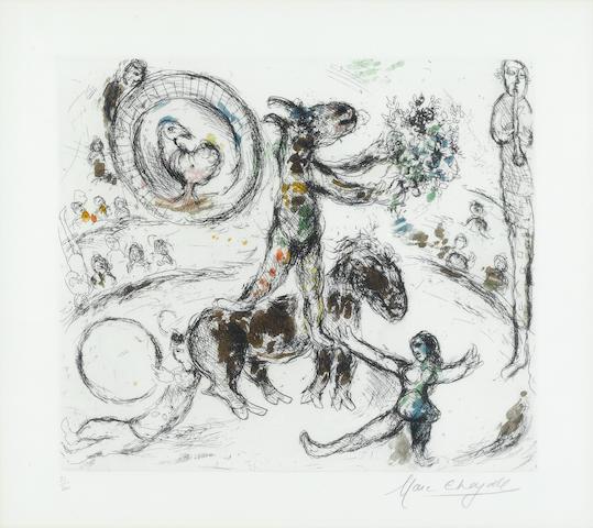 Marc Chagall (1887-1985); L'âne au bouquet de fleurs;