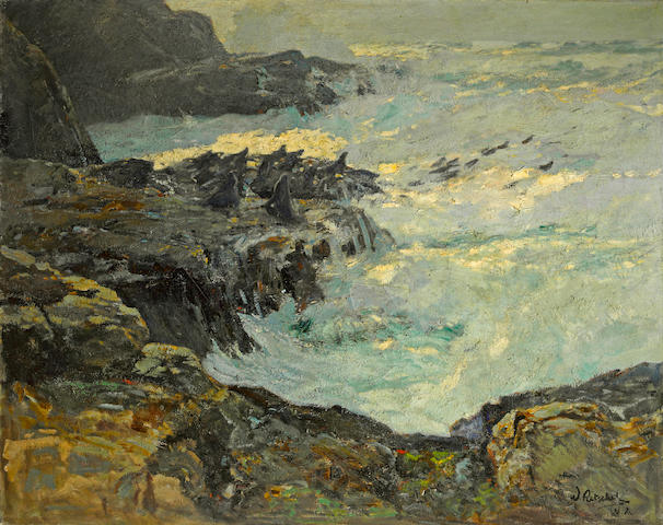 William Frederick Ritschel (American, 1864-1949) Evening tide, California coast, 1926 40 x 50in
