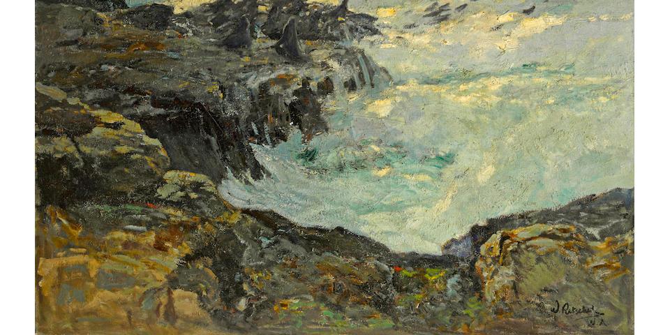 William Frederick Ritschel (American, 1864-1949) Evening tide, California coast, 1926 40 x 50in