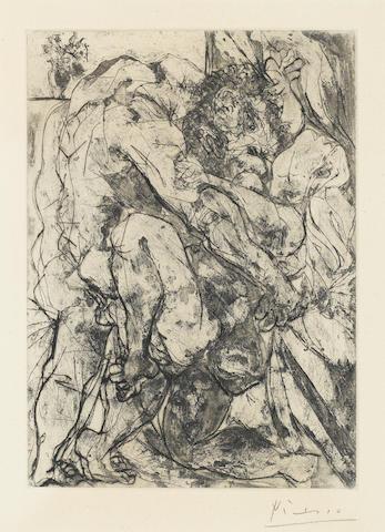 Pablo Picasso, Le Viol sous la Fenetre, (B.183), 1933, Etching, aquatint and drypoint, Signed (mat burn)