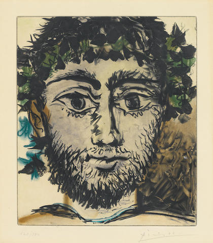 After Pablo Picasso; Tete deFaune 1958 color aquatint;
