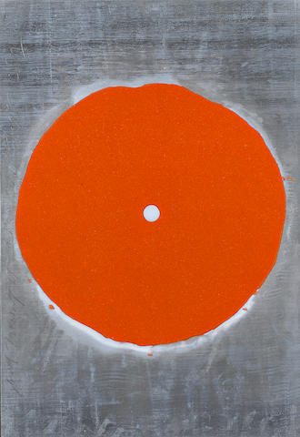 Donald Sultan (born 1951); Orange Trumpet Multiple(2008) Edition 30 Silkscreen and gold pigments on lead, mounted on wood, 80 x 60 cm;